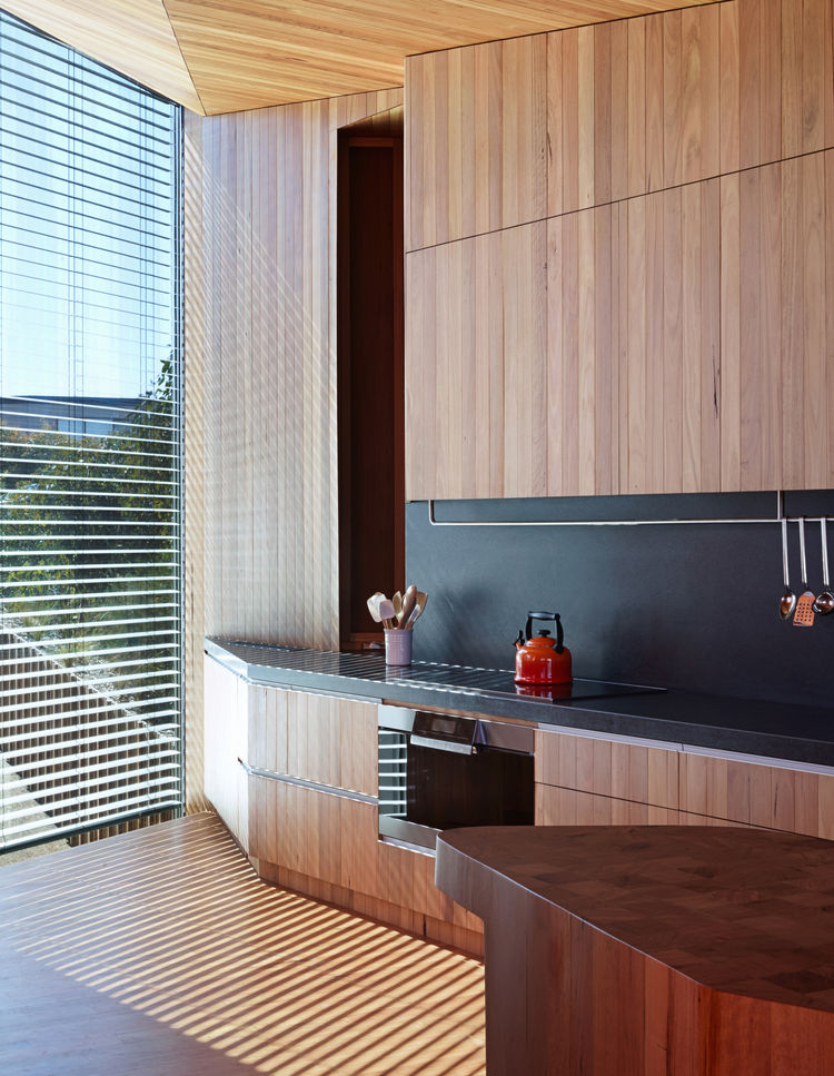 modern fairhaven beach house blackbutt eucalyptus kitchen butcher block