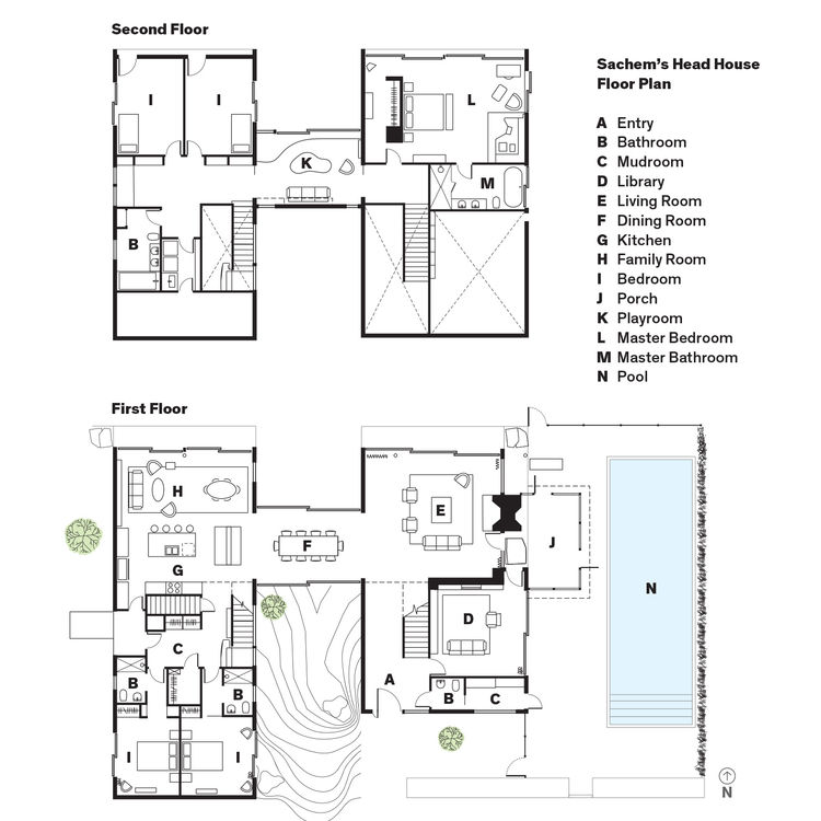 Modern Connecticut summer home renovation floor plans