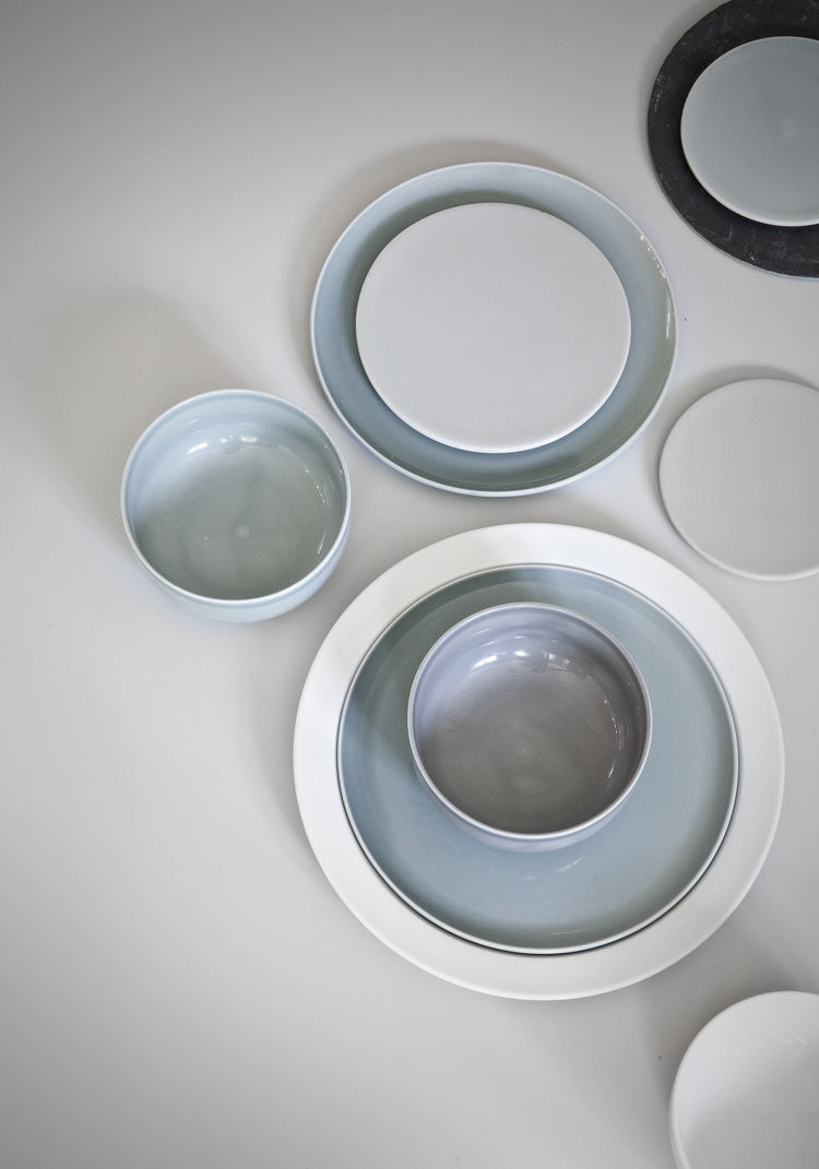 Overhead view of Norm dinnerware collection