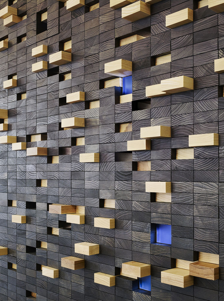 FSC-certified ash wall decoration.