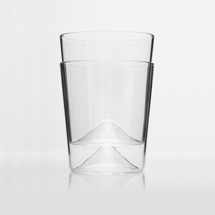 Stackable glasses with cone shaped base
