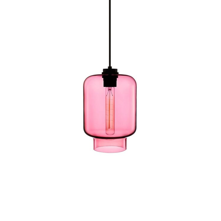 Hand-blown glass pendant light with stamen-style bulb