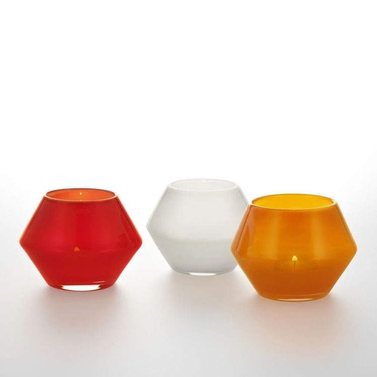 Geometric hand-blown glass votive holder