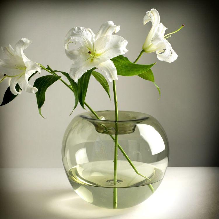 Hand-blown glass spherical vase