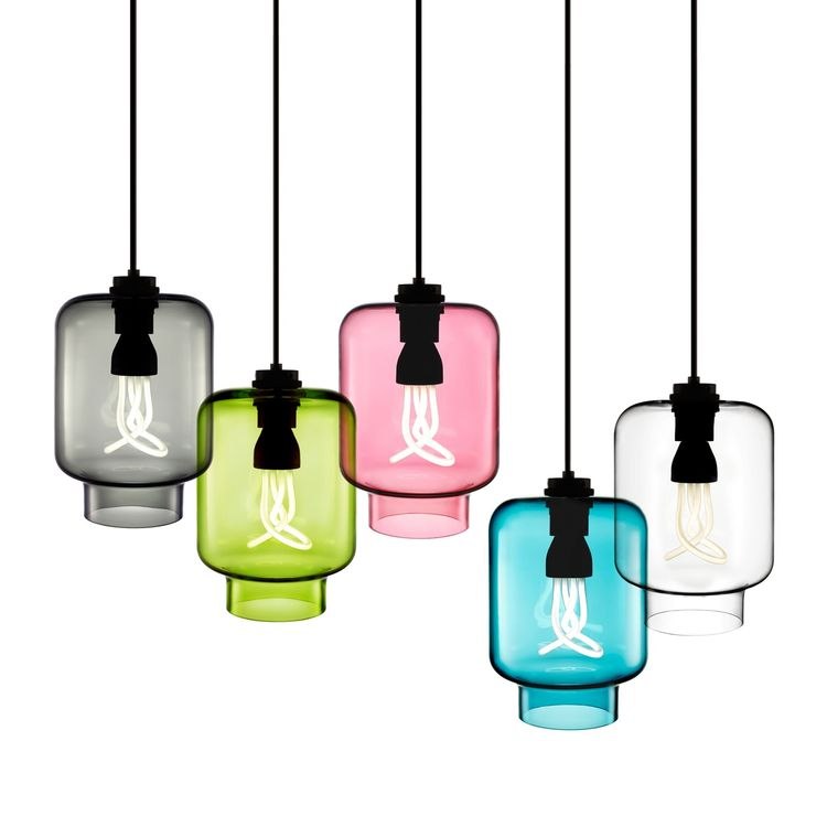 Colorful assortment of hand-blown pendant lights