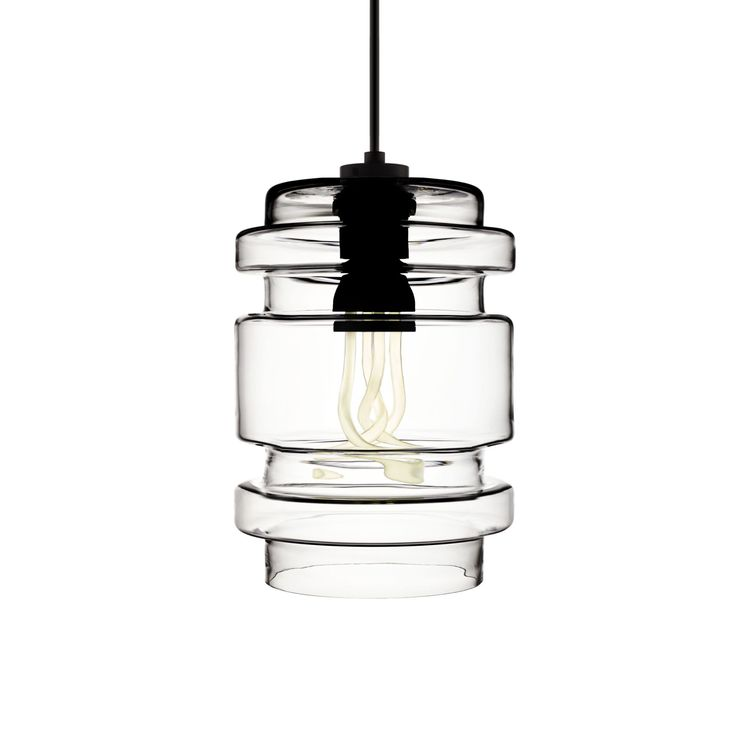 Clear hand-blown glass pendant light