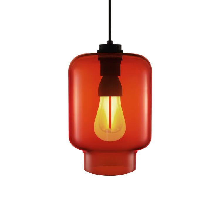 Red hand-blown glass pendant with Plumen 002 bulb