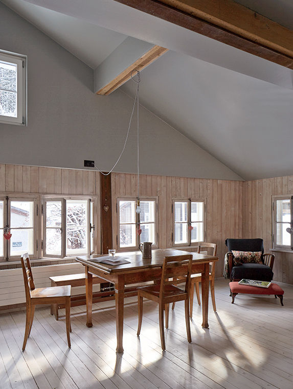 Swiss family getaway small space renovation with dining area