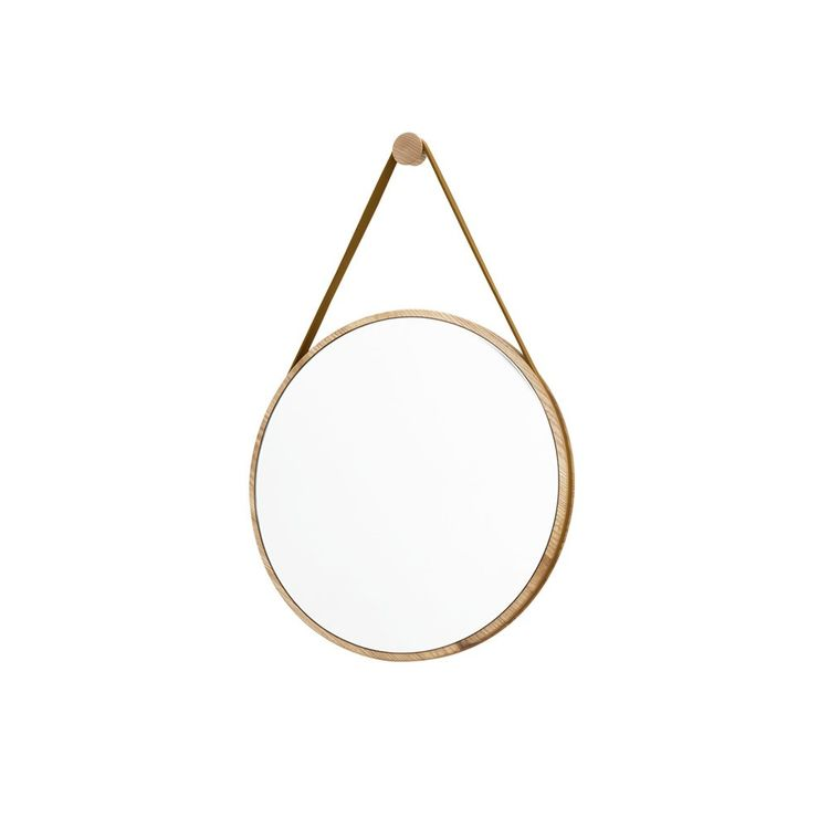 Captain's style mirror with peg and leather strap