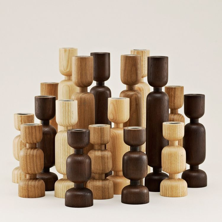 Inspired wood candlestick holders in different sizes and colors
