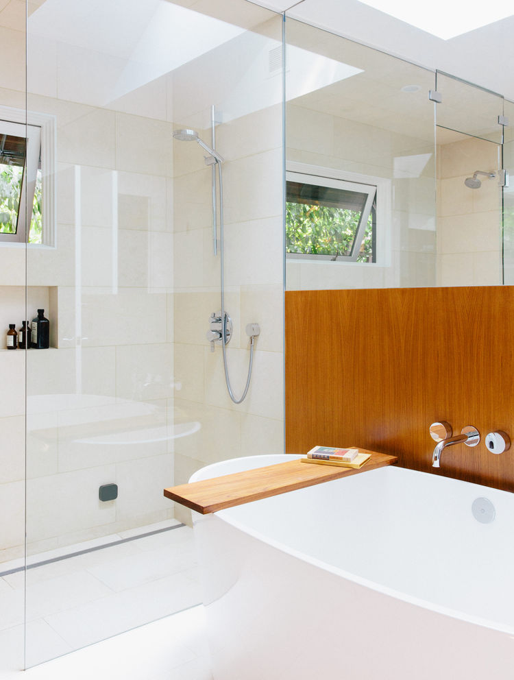 The master bathroom of a midcentury home renovation in Portland.