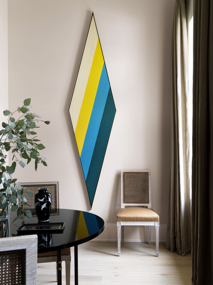 Sandra Nunnerley's Living Room featuring Kenneth Noland painting and Maison Jensen table