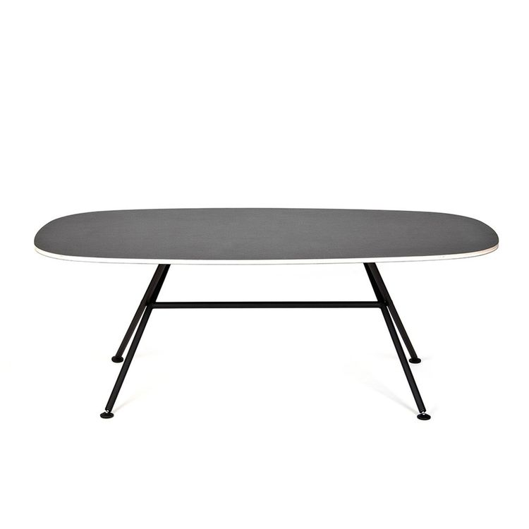 Folding, oval-shaped black dining table