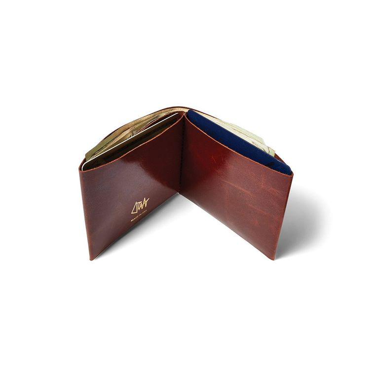 Simple leather bifold wallet with gold stitching