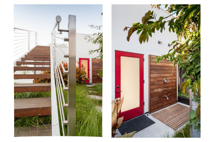 Moen fixtures and teak deck outdoor shower in San Diego renovation by Architects Magnus.