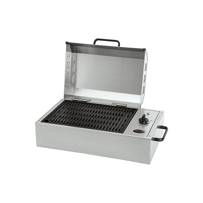 Essential outdoor products like the stainless steel City Grill by Kenyon