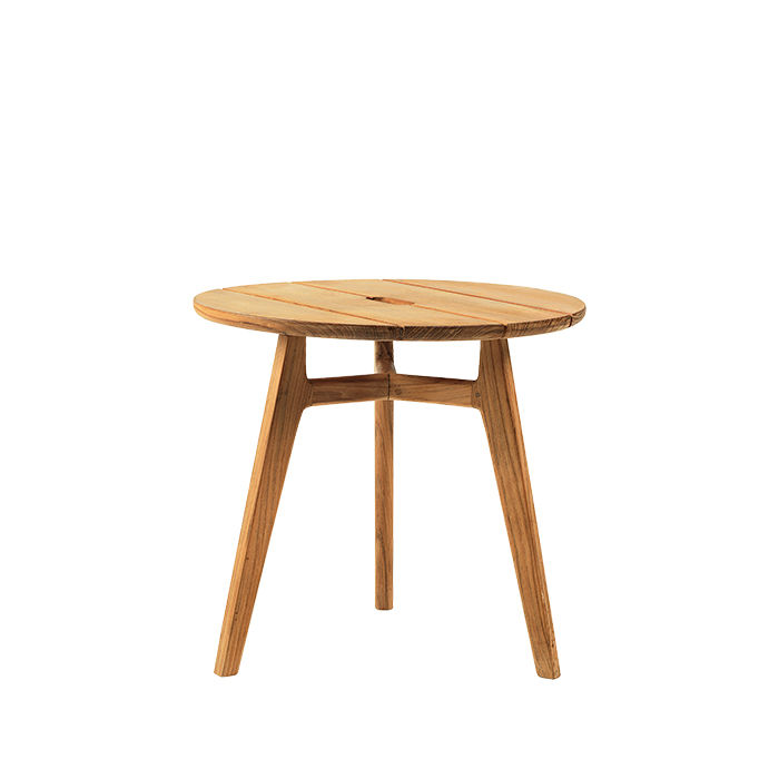 Essential outdoor products like the teak Knit coffee table by Patrick Norguet and Ethimo