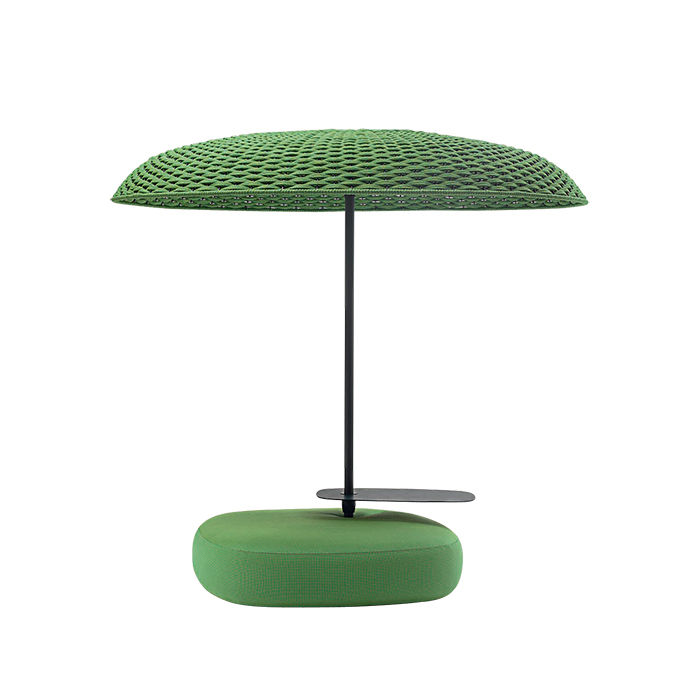 Essential outdoor products like the polyolefin and aluminum Mogambo umbrella by Paola Lenti