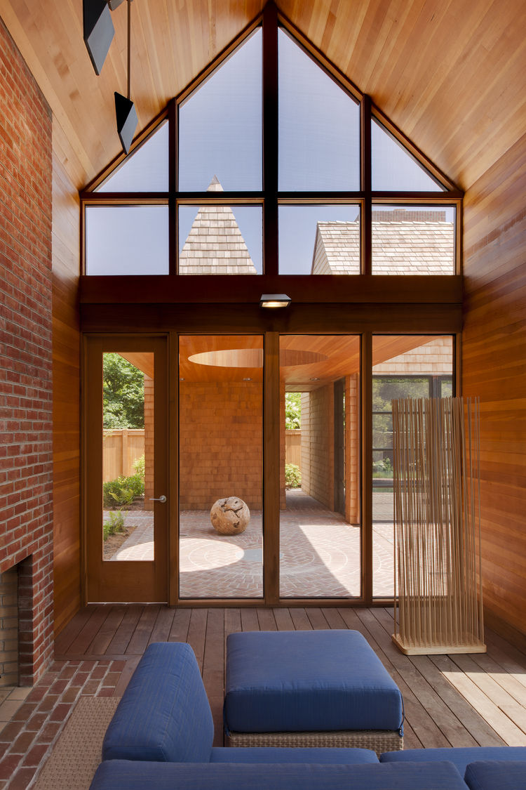Arizona modular outdoor seating by Barlow Tyrie in patio of Delaware renovation by Robert M. Gurney Architect