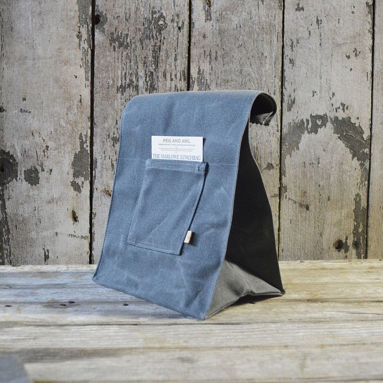Waxed canvas lunch bag inspired by paper sack