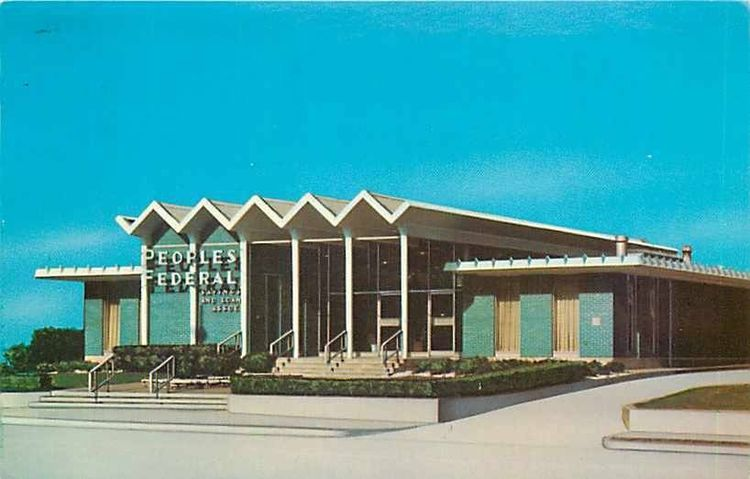 A rendering from the early 1960s shows the architect's plan for the Googie-style Peoples Bank in Kentucky