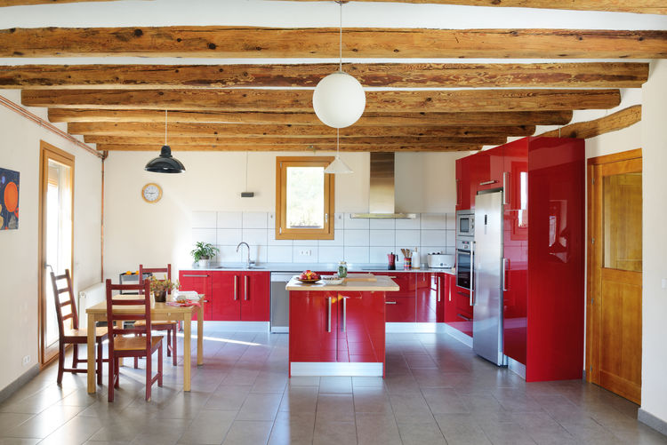 Kitchen of energy-efficient Spanish home.