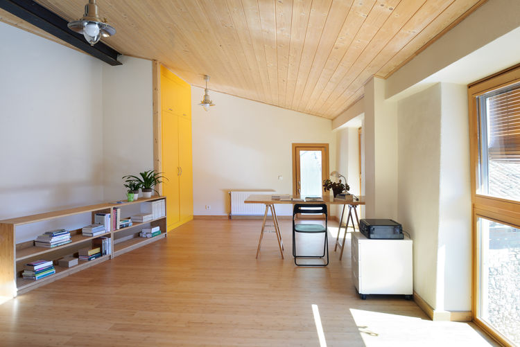 Upper living area of energy-efficient Spanish home.