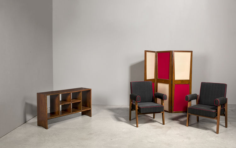 File rack and chairs by Pierre Jeanneret