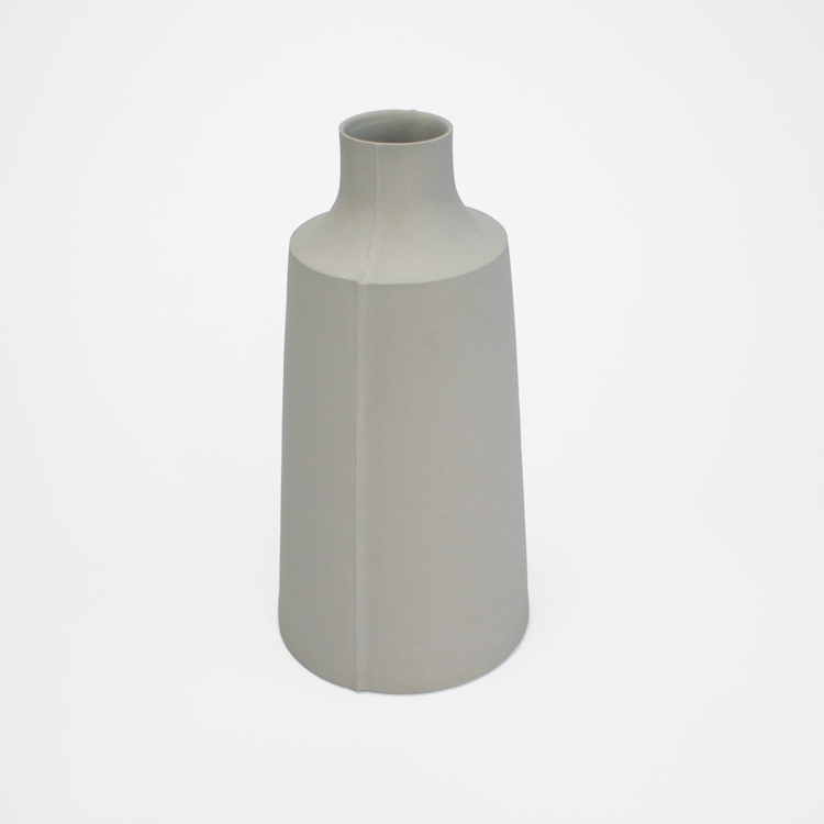 Simple and minimalist porcelain vase with visible casting line