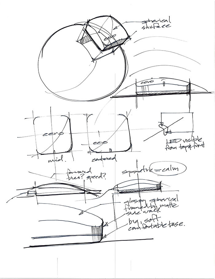 Modern router and range extender Eero sketches by designer Fred Bould