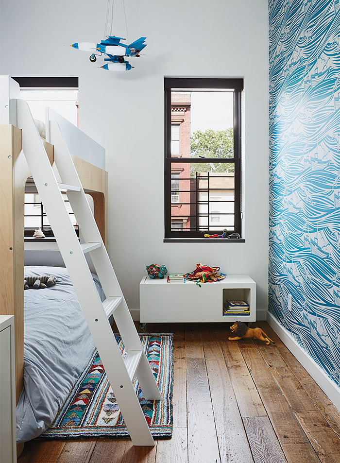 Modern Brooklyn renovation has Linus wallpaper and Oeuf bunk bed in kid's room