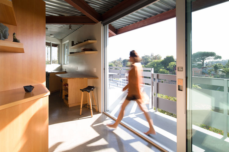 Eco Steel prefab structure and Douglas fir built-ins of prefab Los Angeles home by Marbletecture.
