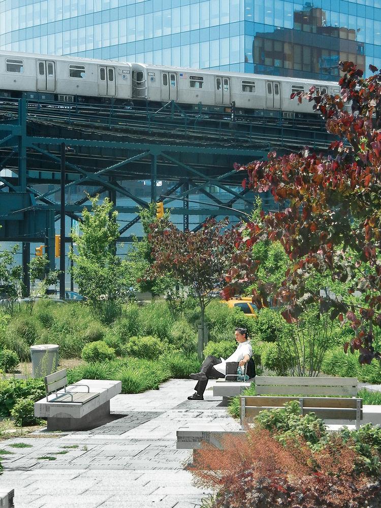 modern world profile Margie Ruddick plaza concrete benches garden