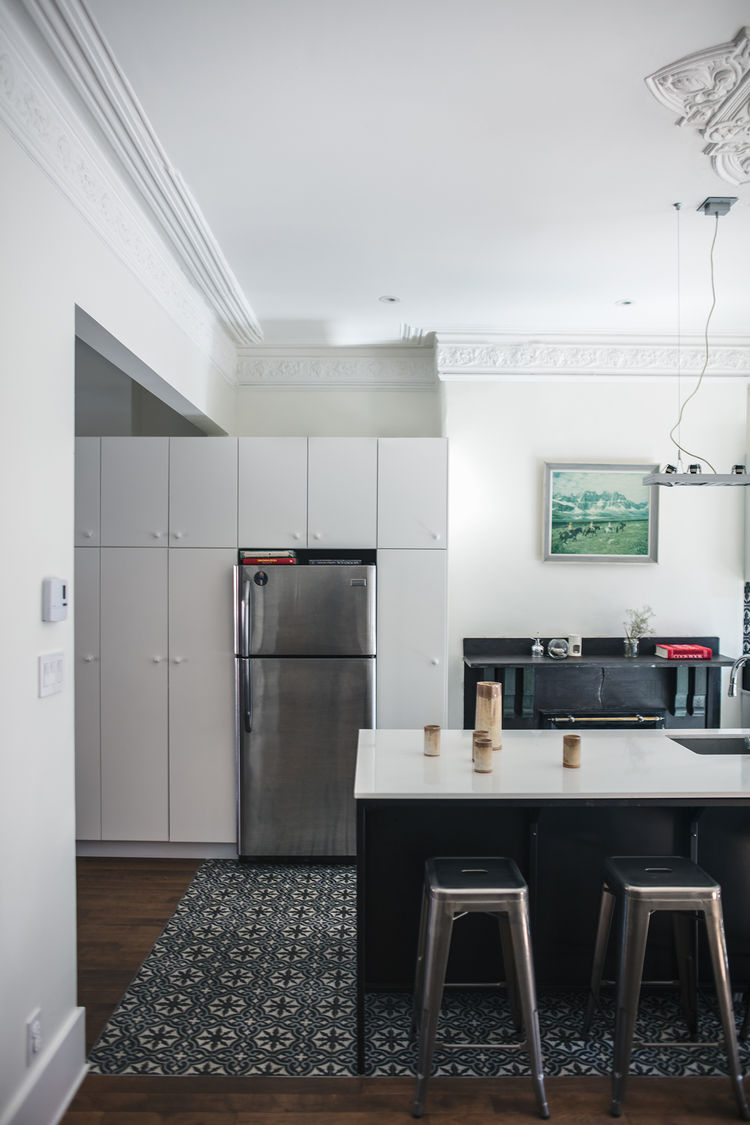 IKEA kitchen cabinets and a Frigidaire refrigerator in Montreal