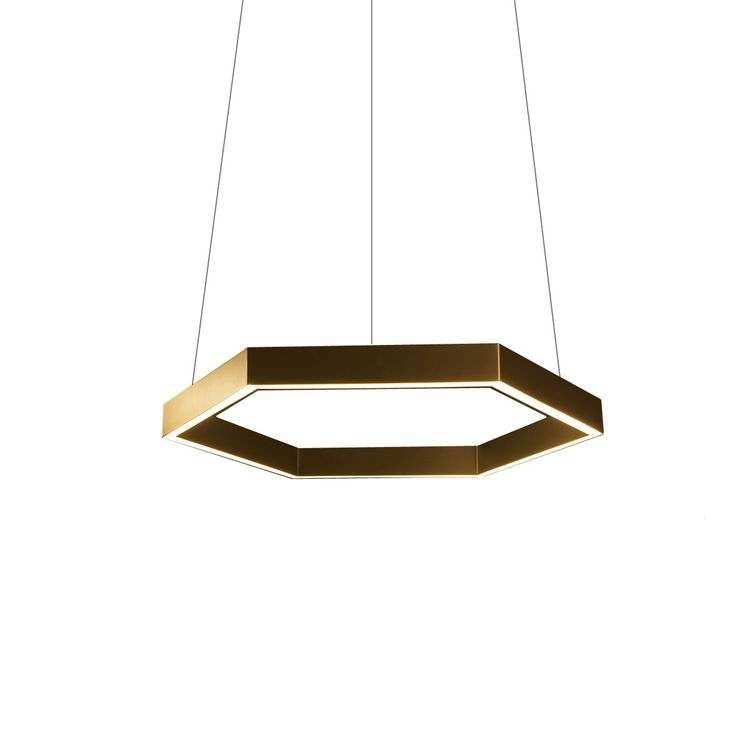 Hexagonal brass pendant light