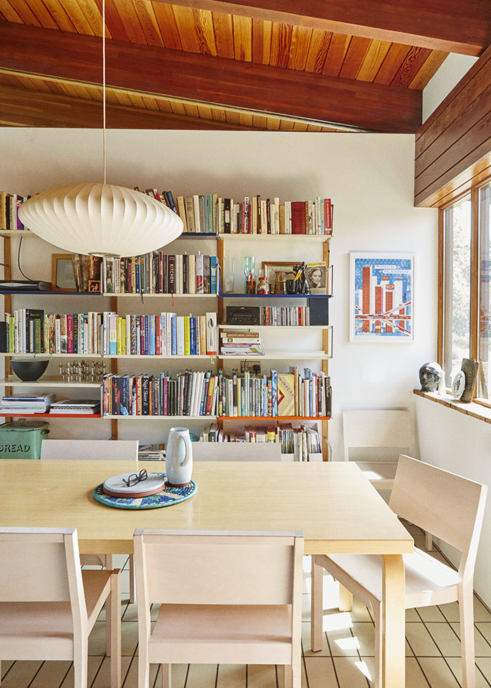 Small dining room with a bookshelf