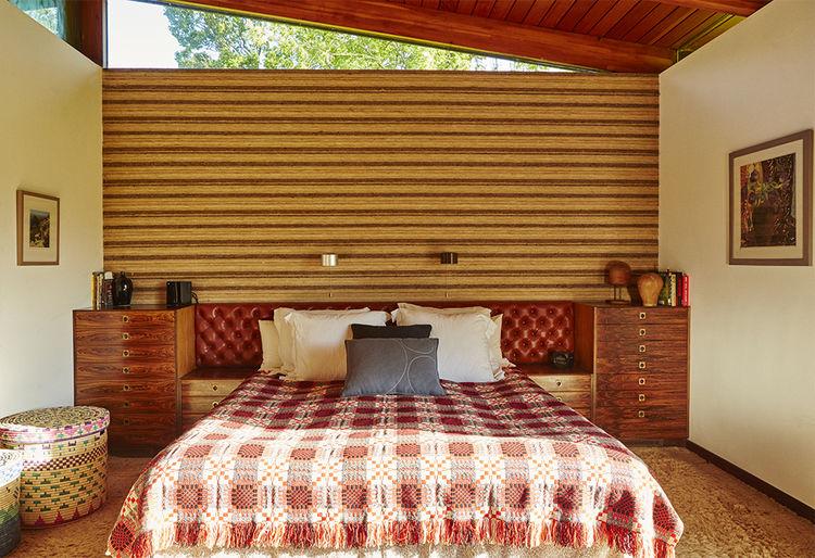 Master bedroom with vintage bedding
