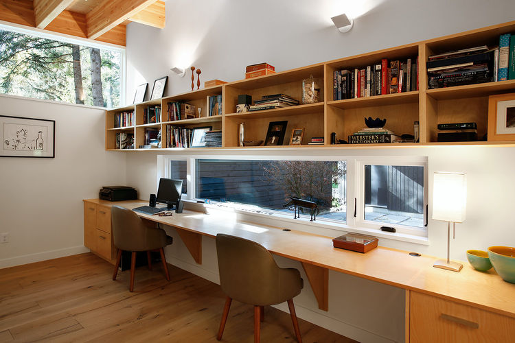 Study with exposed beams and clerestory window.