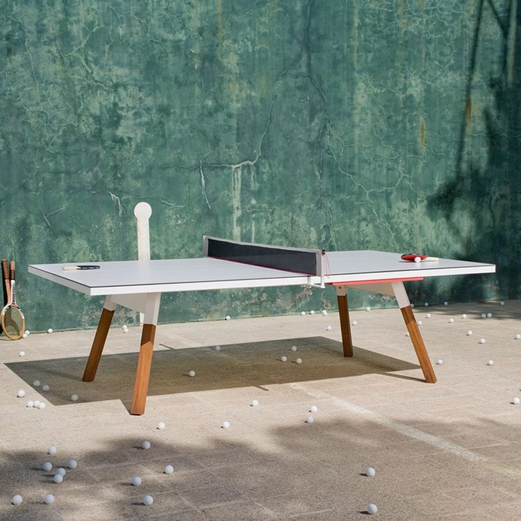 Indoor outdoor ping pong table with wood legs