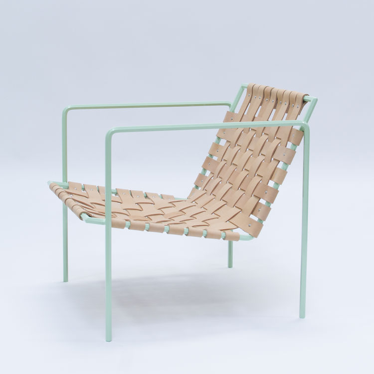 Woven leather chair with powder-coated frame