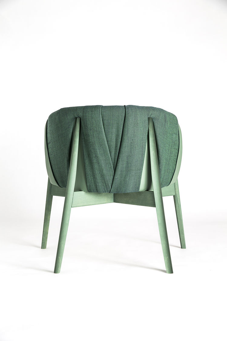 Green easy chair by Formellt exhibited at Salone Satellite 2015