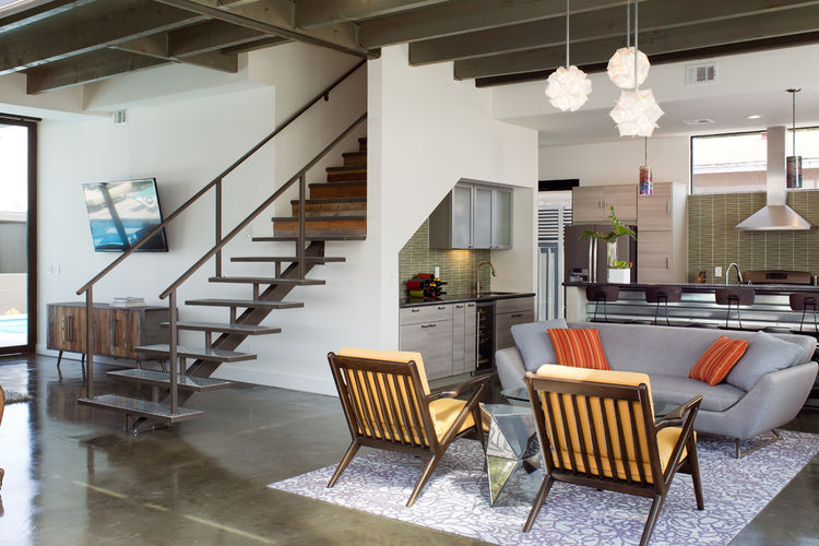 Open plan living and kitchen areas of a renovated San Diego house