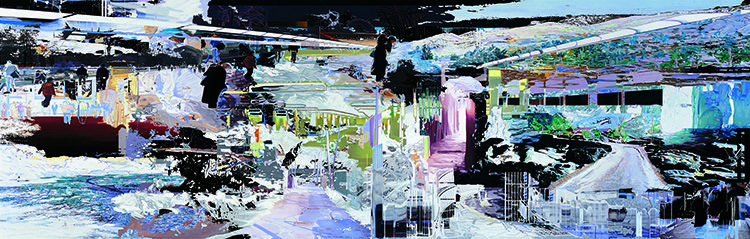 """Corinne Wasmuht, Here Today, Gone Tomorrow, oil on wood 81.5"""" x 257"""", 2007."""