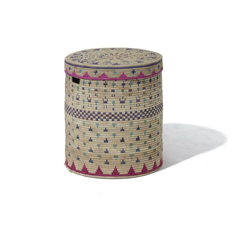 Hand-woven linen storage basket