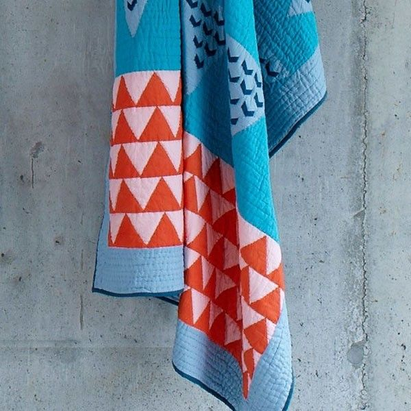 Colorful throw blanket inspired by traditional Kantha quilts