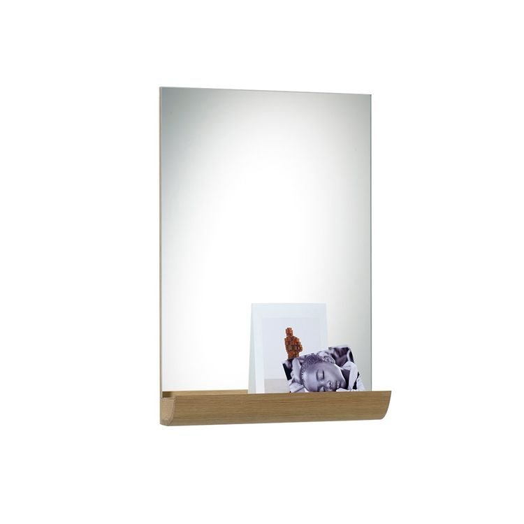 Wall-mounted mirror with oak wood shelf