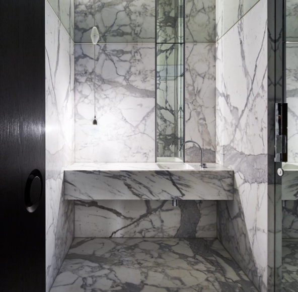 Marble-rich bathroom