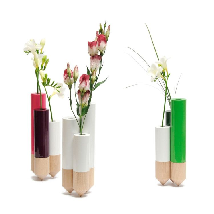 Wood and glass vase with different levels for sculptural effect