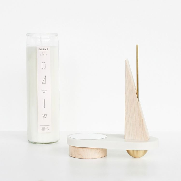 Sculptural candle set with brass and maple accents
