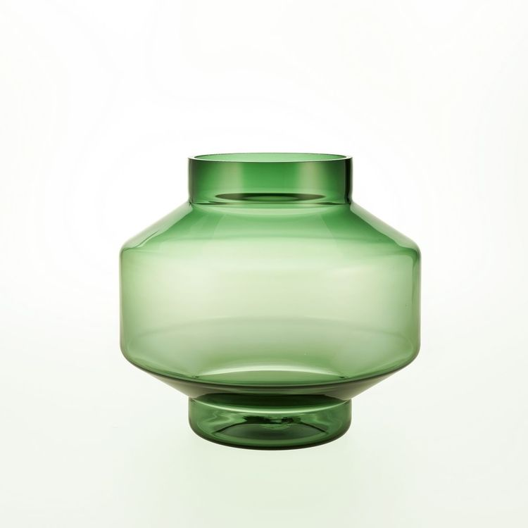 Geometric and sculptural handblown glass vase
